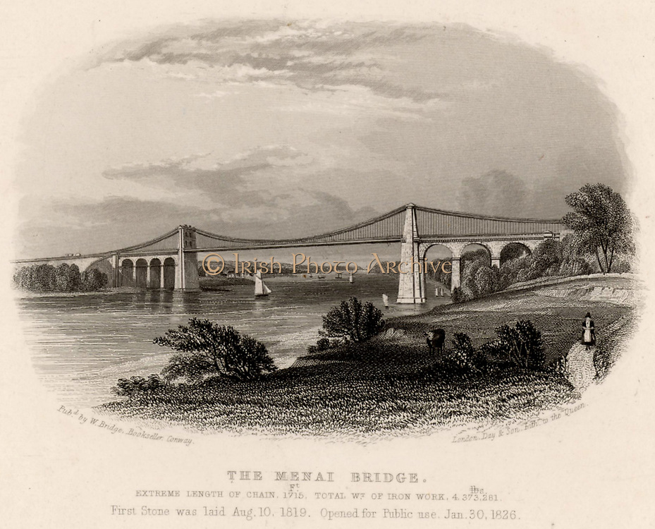 Suspension bridge over the Menai Straits, Wales, built by Thomas Telford (1757-1834), Scottish civil engineer, between 1820 and 1826. The original timber deck was wrecked in a storm in 1839 and had to be replaced by a heavier one.  In 1940 the chains were renewed with high-tensiile steel.  This bridge formed part of the London/Holyhead road which carried mails between Dublin and London.  Engraving c1840.