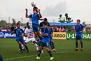 Team USA defender Antonio Leone (5) and Team Guatemala midfielder Rodrigo Villalobos (8) go up for a header during a CONCACAF boys under-15 championship soccer game, Monday, Aug. 5, 2019, in Bradenton, Fla. The USA defeated Guatemala  2-0 (Kim Hukari/Image of Sport)
