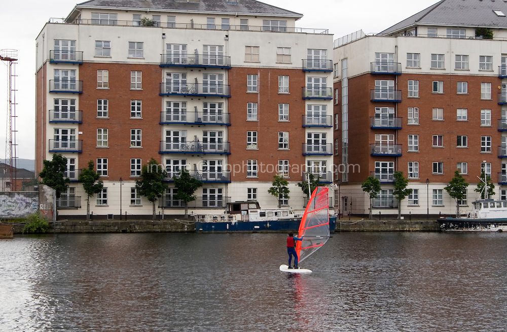 Wind surfing classes at Grand Canal docks in Dublin's docklands Ireland
