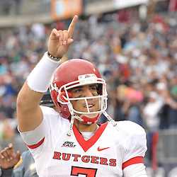 Oct 31, 2009; East Hartford, CT, USA; Rutgers quarterback Tom Savage (7) signals to Rutgers fans during the closing seconds of Rutgers' 28-24 victory over Connecticut in Big East NCAA college football at Rentschler Field.