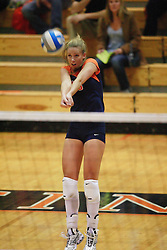 Virginia Cavaliers OH Sarah Kirkwood (10).  The Virginia Cavaliers Volleyball Team fell to the Florida State Seminoles three games to none on October 14, 2006 at Memorial Gymnasium in Charlottesville, VA...