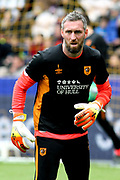 Hull City goalkeeper Allan McGregor (1) warms up prior to  the EFL Sky Bet Championship match between Hull City and Cardiff City at the KCOM Stadium, Kingston upon Hull, England on 28 April 2018. Picture by Mick Atkins.