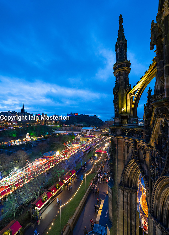 View of Edinburgh Christmas Market from Scott Monument in Edinburgh, Scotland, UK