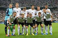 Fotball<br /> VM-kvalifisering<br /> Tyskland v Østerrike<br /> 06.09.2013<br /> Foto: Witters/Digitalsport<br /> NORWAY ONLY<br /> <br /> Team Deutschland, hinten v.l. Torwart Manuel Neuer, Per Mertesacker, Toni Kroos, Sami Khedira, Miroslav Klose, Jerome Boateng, vorn v.l Phillip Lahm, Marco Reus, Marcel Schmelzer, Thomas Mueller, Mesut Oezil<br /> Fussball, WM-Qualifikation, Deutschland - Oesterreich 3:0