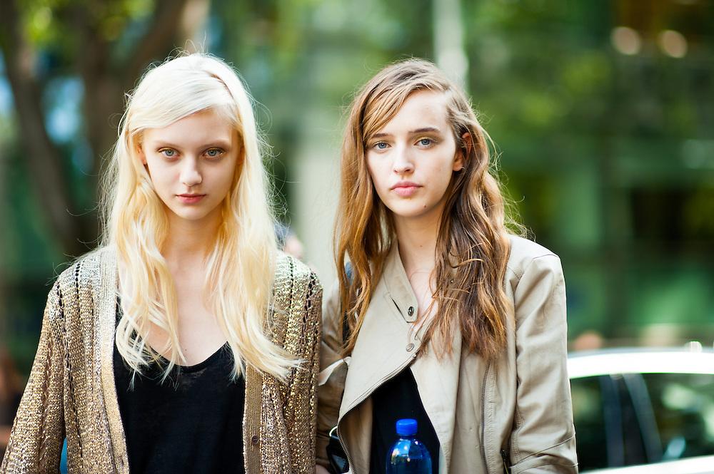 Models Nastya Kusakina and Agata Rudko, After Emporio Armani