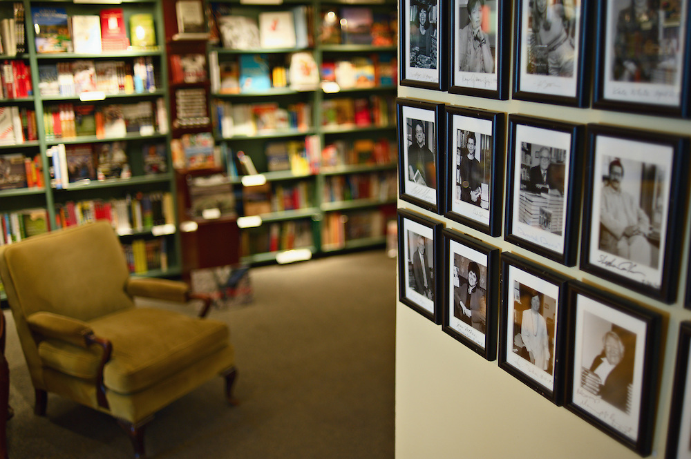 Framed, autographed pictures of authors hang on the walls of R.J. Julia Booksellers, Madison, Connecticut, US