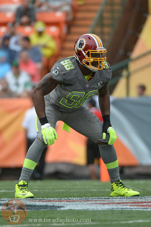 January 26, 2014; Honolulu, HI, USA; Team Sanders linebacker Brian Orakpo of the Washington Redskins (98) during the third quarter of the 2014 Pro Bowl at Aloha Stadium. Team Rice defeated Team Sanders 22-21.