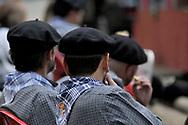 Men with typical berets. Pilgrimage of Nuestra Señora de Gracia in San Lorenzo de El Escorial, Madrid.