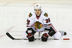 Feb 10, 2012; San Jose, CA, USA; Chicago Blackhawks center Dave Bolland (36) warms up before the game against the San Jose Sharks at HP Pavilion. San Jose defeated Chicago 5-3. Mandatory Credit: Jason O. Watson-US PRESSWIRE