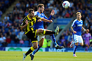 Burton Albion defender Phil Edwards clears the ball during the Sky Bet League 1 match between Chesterfield and Burton Albion at the Proact stadium, Chesterfield, England on 26 September 2015. Photo by Aaron Lupton.