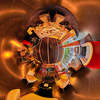 Bessa Hotel Lobby. 360 Degree Tunnel View. Composite of 26 images from a Nikon D850 camera and 8-15 mm fisheye lens (ISO 1600, 15 mm, f/8, 1/60 sec). Raw images processed with Capture One Pro and the composite generated with AutoPano Giga Pro.