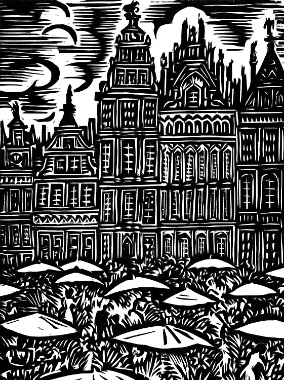 A black / white drawing of the large market in Brussels