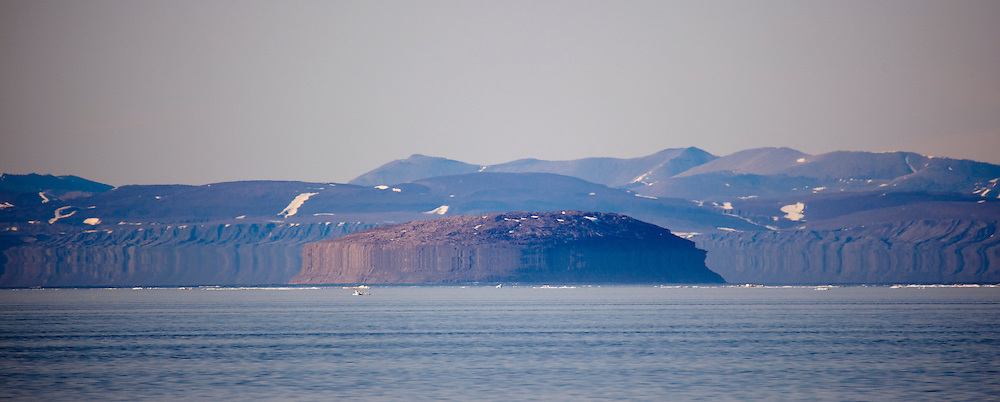 Fata Morgana, or superior mirage of Joe Island, off the west coast of Arctic Greenland, in Nares Strait, near Petermann Glacier