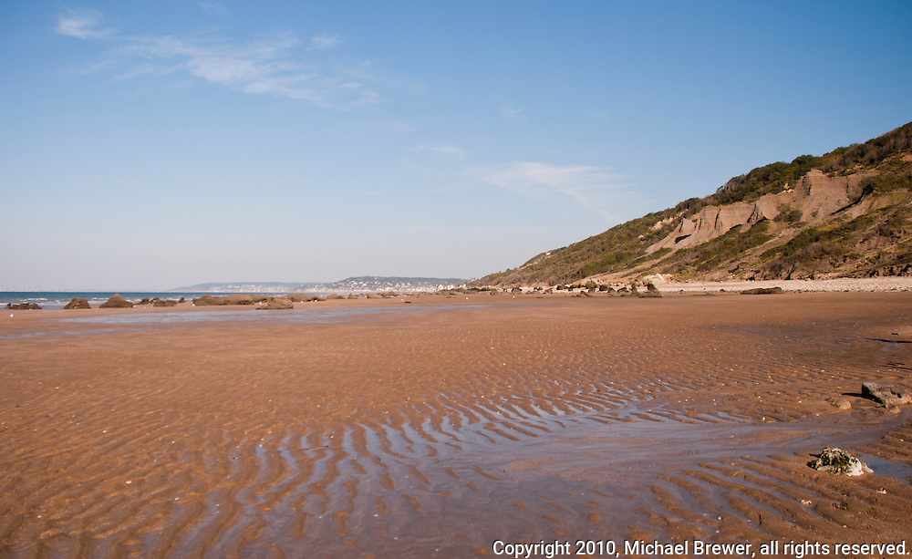 Omaha Beach at low tide, Normandy, France
