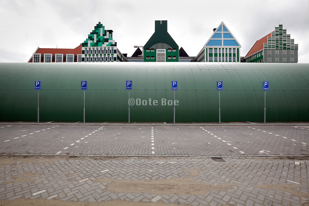 typical Dutch houses facades in the Zaanstreek area are used for the new city center n Zaandam, Netherlands.
