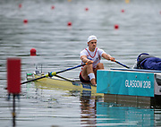 "Glasgow, Scotland, ""2nd August 2018"", Swiss, Men's Single Sculler, DUI M1X,  Roman ROEOESLI, in his First Stroke of his Heat at the European Games, Rowing, Strathclyde Park, North Lanarkshire, © Peter SPURRIER/Alamy Live News"