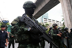 © Licensed to London News Pictures. 24/05/2014. An armed thai army soldier following a Anti-Coup protest in Bangkok Thailand. The Royal Thai army announced a Military coup and have imposed a 10pm curfew.  Photo credit : Asanka Brendon Ratnayake/LNP