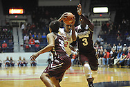 "Mississippi Lady Rebels forward Tia Faleru (32) vs. Mississippi State Lady Bulldogs forward Breanna Richardson (3) at the C.M. ""Tad"" Smith Coliseum in Oxford, Miss. on Thursday, January 22, 2015. (AP Photo/Oxford Eagle, Bruce Newman)"
