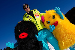 Gasper Markic with mascots Xobi during media day of Slovenian Alpine Ski team on October 17, 2011, in Rudno polje, Pokljuka, Slovenia. (Photo by Vid Ponikvar / Sportida)