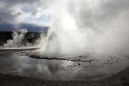 Sawmill Geyser Eruption in Upper Geyser Basin, Yellowstone National Park, Wyoming