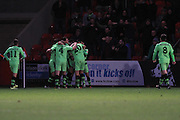 Darren Carter goal celebration during the Vanarama National League match between Cheltenham Town and Forest Green Rovers at Whaddon Road, Cheltenham, England on 21 November 2015. Photo by Antony Thompson.