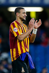 James Meredith of Bradford City celebrates after Bradford City pull of a remarkable comeback from 2-0 down to win the match 2-4 and progress to the fifth round of the FA Cup - Photo mandatory by-line: Rogan Thomson/JMP - 07966 386802 - 24/01/2015 - SPORT - FOOTBALL - London, England - Stamford Bridge - Chelsea v Bradford City - FA Cup Fourth Round Proper.