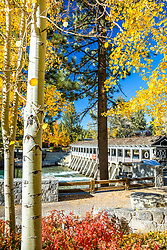 """Lake Tahoe Dam in Autumn 1"" - Photograph fall foliage and of the Lake Tahoe Dam at the Truckee River in Tahoe City, California."