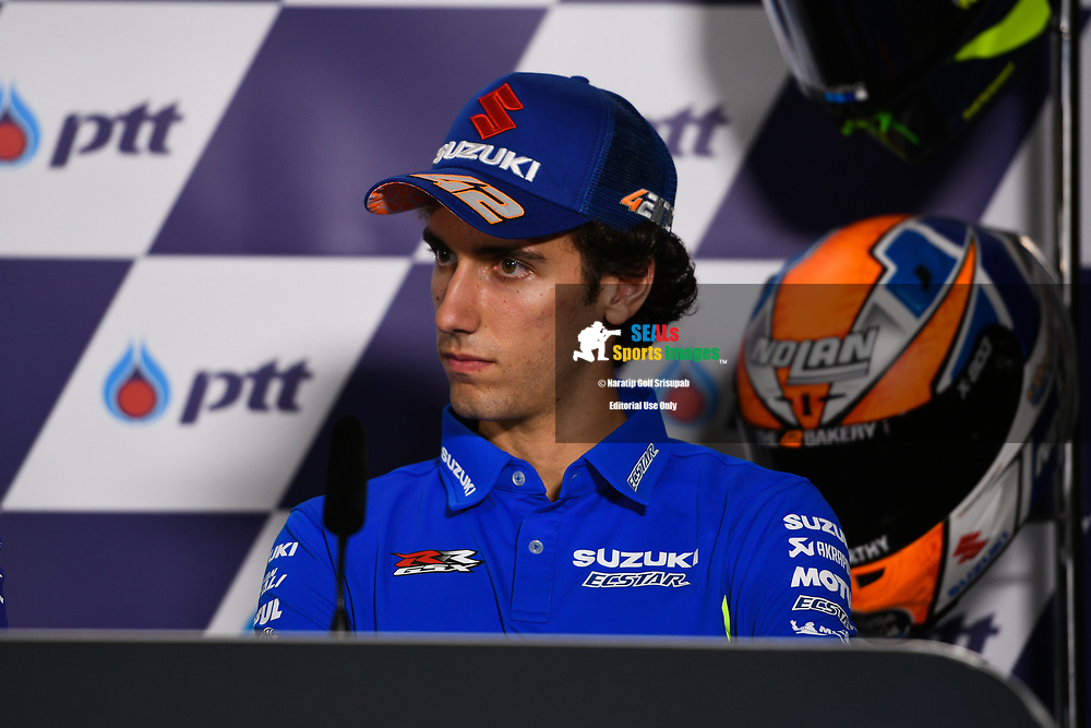 BURIRAM, THAILAND - OCTOBER 04: Alex Rins (42) of Spain and Team SUZUKI ECSTAR during the Pre-Event Riders Press Conference at the MotoGP PTT Thailand Grand Prix 2018, Chang International Circuit, Buriram, Thailand on October 04, 2018. <br /> .<br /> .<br /> .<br /> (Photo by: Naratip Golf Srisupab/SEALs Sports Images)<br /> .<br /> Any image use must include a mandatory credit line adjacent to the content which should read: Naratip Golf Srisupab/SEALs Sports Images