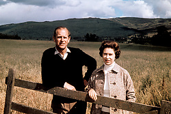 Queen Elizabeth II and the Duke of Edinburgh at Balmoral to celebrate their Silver Wedding anniversary.