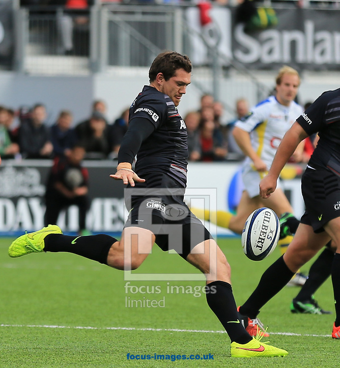 Alex Goode of Saracens during the European Rugby Champions Cup match at Allianz Park, London<br /> Picture by Michael Whitefoot/Focus Images Ltd 07969 898192<br /> 18/10/2014