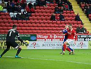 Patrick Bauer of Charlton Athletic or goalkeeper Stephen Henderson cannot stop Freddy Sears of Ipswich Town scoring his side's 2nd goal to make it 0-2 during the Sky Bet Championship match at The Valley, London<br /> Picture by Alan Stanford/Focus Images Ltd +44 7915 056117<br /> 28/11/2015
