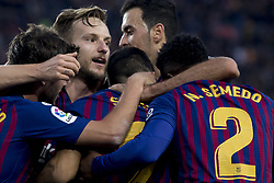 October 28, 2018 - Barcelona, Catalonia, Spain - FC Barcelona players cellebrating the second score of Luis Suarez during the spanish league match between FC Barcelona and Real Madrid at Camp Nou Stadium in Barcelona, Catalonia, Spain on October 28, 2018  (Credit Image: © Miquel Llop/NurPhoto via ZUMA Press)