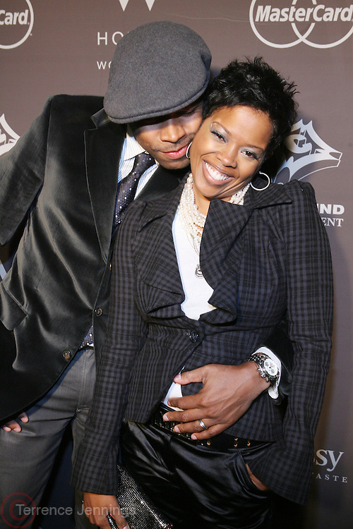l to r: D-NICE and Malinda Williams at The Ne-Yo 29th Birthday party sponsored by Hennessey held at Whiskey in the W Hotel on October 29, 2008 in New York City