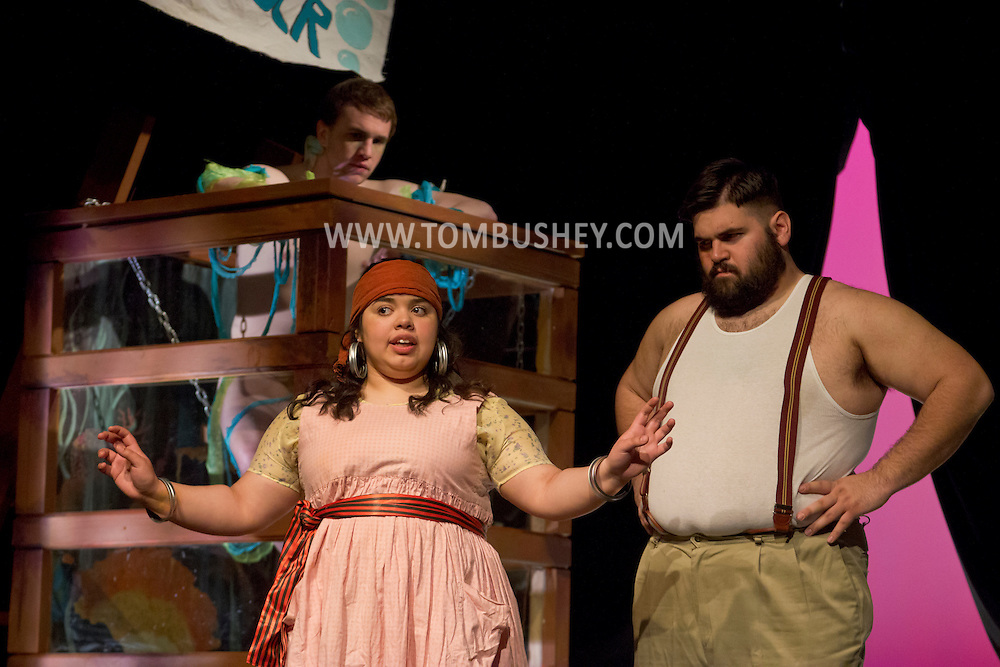 """Middletown, New York - Students from The Apprentice Players of the SUNY Orange Arts & Communications Department in a dress rehearsal of """"Freakshow""""at Orange Hall Theatre on April 17, 2014."""
