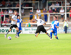 Bristol Rovers' Fabian Broghammer catches Hereford United's trailist late and injures himself in the progress - Photo mandatory by-line: Dougie Allward/JMP - Tel: Mobile: 07966 386802 16/07/2013 - SPORT - FOOTBALL - Bristol -  Hereford United V Bristol Rovers - Pre Season Friendly