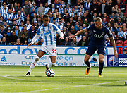 Huddersfield Town's Thomas Ince and Toby Alderweireld of Tottenham during the Premier League match between Huddersfield Town and Tottenham Hotspur at the John Smiths Stadium, Huddersfield, England on 30 September 2017. Photo by Paul Thompson.