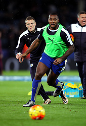 Jamie Vardy of Leicester City and Wes Morgan of Leicester City warm up - Mandatory byline: Robbie Stephenson/JMP - 28/11/2015 - Football - King Power Stadium - Leicester, England - Leicester City v Manchester United - Barclays Premier League