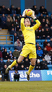 Barnsley goalkeeper Adam Davies claims the ball during the Sky Bet League 1 match between Gillingham and Barnsley at the MEMS Priestfield Stadium, Gillingham, England on 13 February 2016. Photo by Andy Walter.