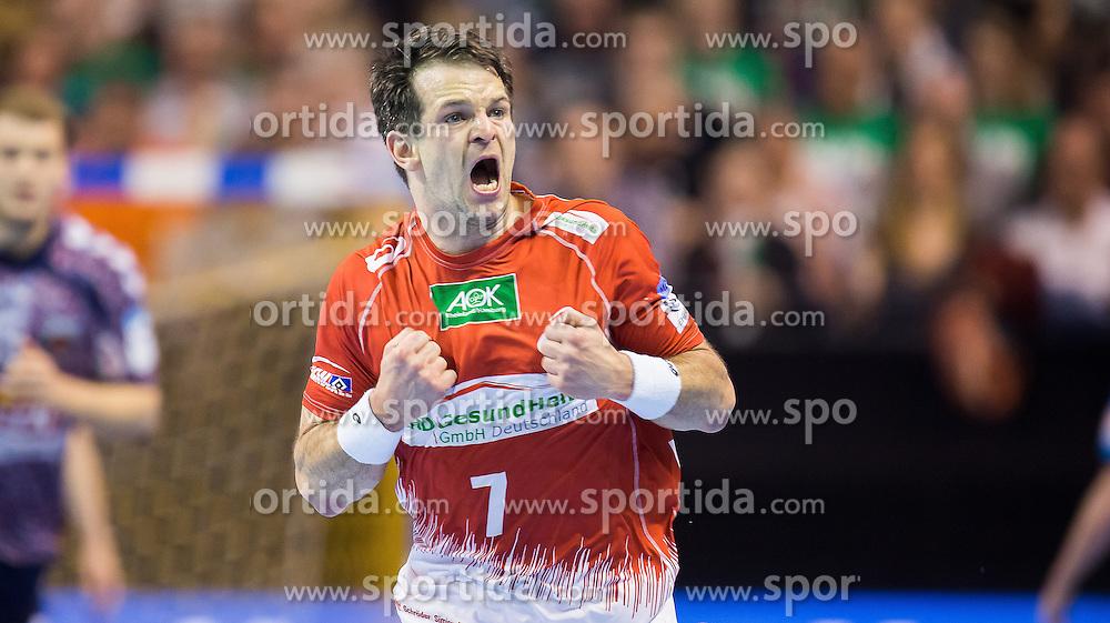 Berlin, Deutschland, 17.05.2015:<br /> Handball EHF Cup Finale 2014 / 2015 - Fuechse Berlin - HSV Hamburg - EHF CUP Finals 2014/15.<br /> <br /> Matthias Flohr (HSV #7) *** Local Caption *** &copy; pixathlon