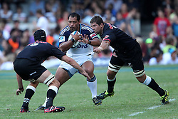 John Afoa of The Blues during the Super15 match between The Mr Price Sharks and The Blues held at Mr Price Kings Park Stadium in Durban on the 26th February 2011..Photo By:  Ron Gaunt/SPORTZPICS
