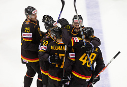 Marcel Muller of Germany, Thomas Greilinger of Germany, Christoph Ullmann of Germany, Korbinian Holzer of Germany and Frank Hordler of Germany celebrate during ice-hockey match between Slovakia and Germany of Group A of IIHF 2011 World Championship Slovakia, on May 1, 2011 in Orange Arena, Bratislava, Slovakia. Germany defeated Slovakia 4-3. (Photo By Vid Ponikvar / Sportida.com)