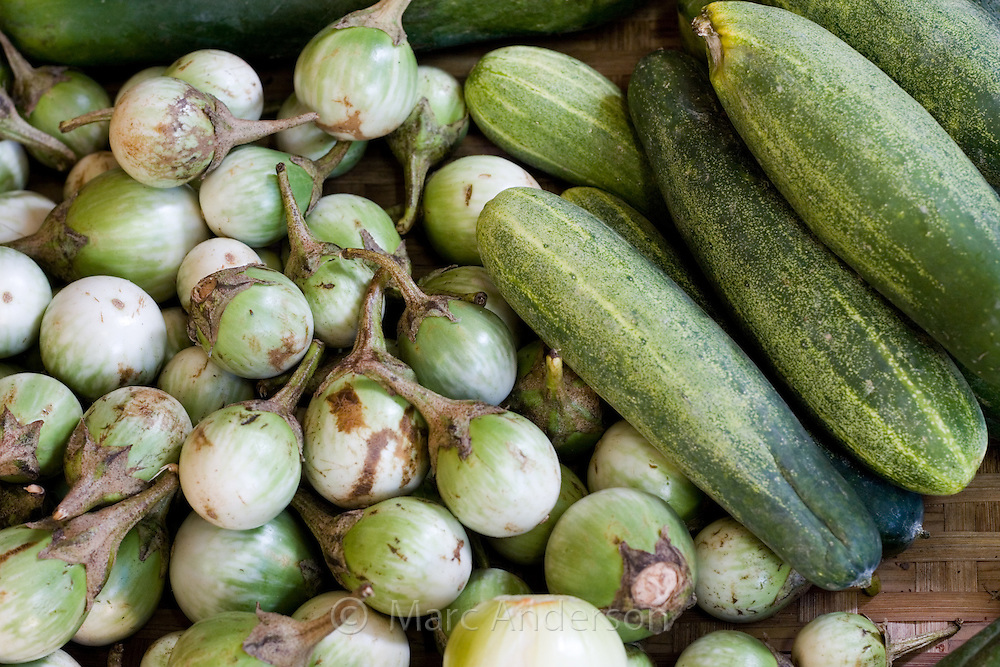 Pea Aubergines and Cucumbers