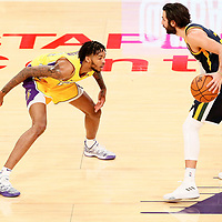 10 October 2017: Los Angeles Lakers forward Brandon Ingram (14) defends on Utah Jazz guard Ricky Rubio (3) during the Utah Jazz 105-99 victory over the LA Lakers, at the Staples Center, Los Angeles, California, USA.