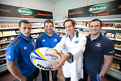 Repro Free: <br /> Bank of Ireland announces details of the 2014 Rugby Sponsor for a Day Competition<br /> <br /> Bank of Ireland is once again opening up its sponsorships of the Munster and Leinster rugby teams to businesses throughout Ireland to compete in its second &lsquo;Sponsor for a Day&rsquo; competition and win the right to have their company logo displayed on the Munster and Leinster players&rsquo; jerseys during a high profile European Rugby Champions Cup match in front of a large live and TV audience.  <br /> <br /> The full prize includes &ndash; the winners company logo on the front of the jerseys; pitch signage; corporate hospitality for ten guests; match programme advert; photographs with the team; promotion for your business from Bank of Ireland and Munster/ Leinster Rugby and Independent News and Media through press and media for all shortlisted companies and winners. The selected games are Leinster vs Castres at the RDS, Dublin on 16 January, 2015 and Munster vs Sale Sharks at Thomond Park, Limerick on 25 January, 2015. Both games will be broadcast live on SKY.<br /> <br /> Companies can enter the competition via www.independent.ie/sponsorforaday from today until the closing date of 10 November, 2014<br /> <br /> Pictured at the launch of the Bank of Ireland &lsquo;Sponsor for a Day&rsquo; competition are last year&rsquo;s Leinster winner Nigel Gahan, sales manager at Gahan Meats with Leinster players Zane Kirchner, Mike Ross and Shane Jennings. Picture Andres Poveda