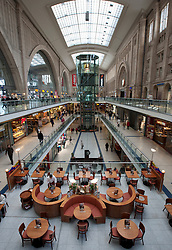 Interior of Leipzig railway station or hauptbahnhof in Germany