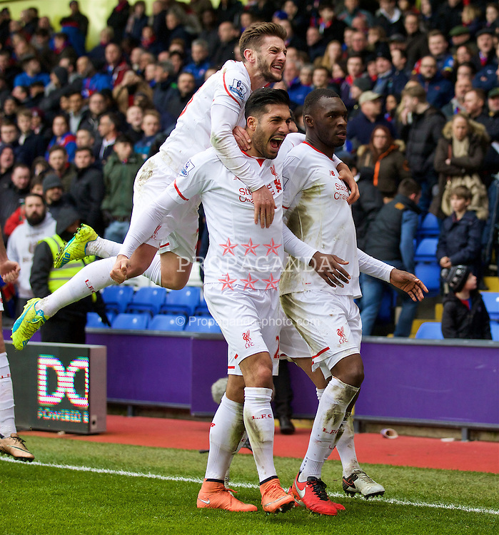 LONDON, ENGLAND - Sunday, March 6, 2016: Liverpool's Christian Benteke celebrates scoring the winning second goal against Crystal Palace from a penalty kick with team-mates Adam Lallana and Emre Can during the Premier League match at Selhurst Park. (Pic by David Rawcliffe/Propaganda)