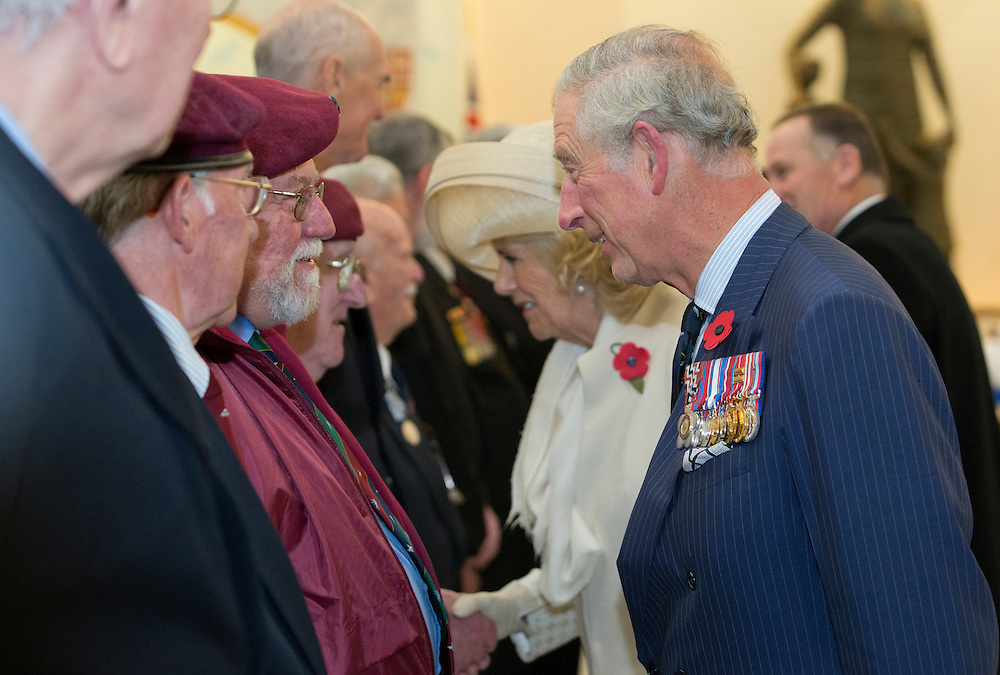 Prince Charles, Prince of Wales and Camilla, Duchess of Cornwall meeting war veterans after a wreath laying ceremony at the National War Memorial, Wellington, New Zealand, Wednesday, November 04, 2015. Credit:SNPA / NZ Herald, Marl Mitchell **POOL**