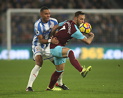 Mathias Zanka Jorgensen of Huddersfield Town (L) and Marko Arnautovic of West Ham United in action - Mandatory by-line: Jack Phillips/JMP - 13/01/2018 - FOOTBALL - The John Smith's Stadium - Huddersfield, England - Huddersfield Town v West Ham United - English Premier League