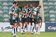 Plymouth Argyle's Jamille Matt celebrates his goal after puting the home team 1-0 ahead during the Sky Bet League 2 match between Plymouth Argyle and York City at Home Park, Plymouth, England on 28 March 2016. Photo by Graham Hunt.