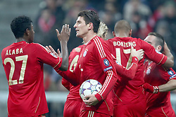 22.11.2011, Allianz Arena, Muenchen, UEFA CL, Gruppe A, GER, FC Bayern Muenchen (GER) vs FC Villarreal (ESP), im Bild  Jubel nach dem Tor zum 2-0 durch Mario Gomez (Bayern #33) mit David Alaba (Bayern #27) Franck Ribery (Bayern #7) Gerome Boateng (Bayern #17)  //during the football match of UEFA Champions league, group a, between  FC Bayern Muenchen (GER)  vs.  FC Villarreal  (ESP) Gruppe A, on 2011/11/22 at Allianz Arena, Munich, Germany. EXPA Pictures © 2011, PhotoCredit: EXPA/ nph/ Straubmeier..***** ATTENTION - OUT OF GER, CRO *****